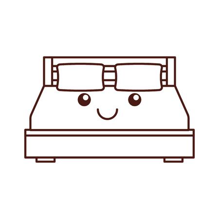 tweepersoonsbed en kussen met deken slaapkamermeubilair in stijl cartoon vectorillustratie Stock Illustratie