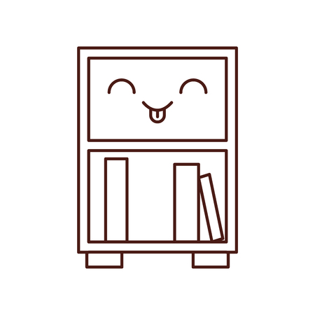 library wooden bookcase of stacked books standing on bookshelves style vector illustration Çizim
