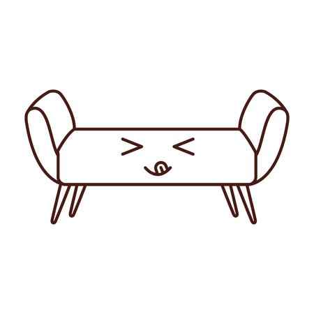 sofa divan of bank elegante meubels icoon stijl interieur vector illustratie Stock Illustratie