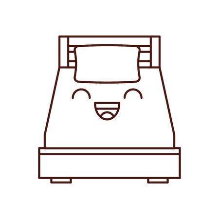 Letto di legno con l & # 39 ; illustrazione di vettore delle mobili della stanza del cuscino Archivio Fotografico - 85616373