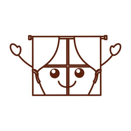 家インテリア スタイルの窓カーテン ベクトル イラスト  イラスト・ベクター素材