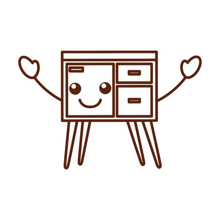 Commode de tiroirs meubles style moderne de vecteur de livre illustration Banque d'images - 85616522