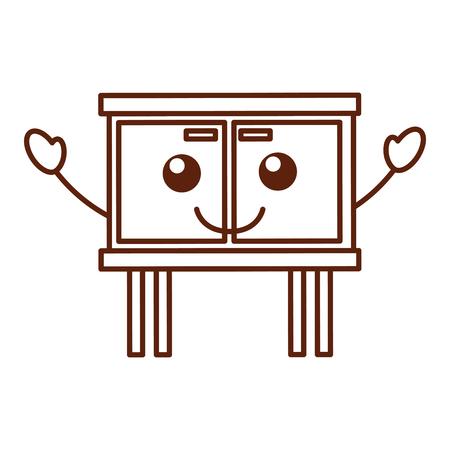 Commode de tiroirs meubles style moderne de vecteur de livre illustration Banque d'images - 85616536