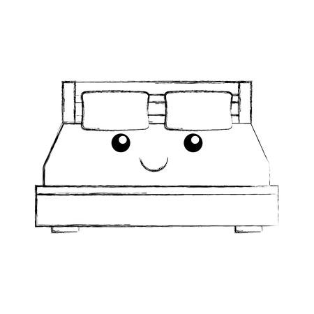 double bed and pillow with blanket bedroom furniture vector illustration Reklamní fotografie - 85616537