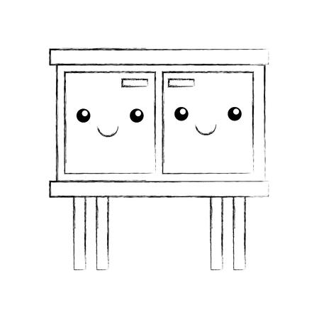 Houten ladekast meubilair materiële moderne stijl vectorillustratie Stockfoto - 85617039