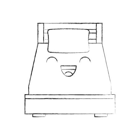 Letto di legno con l'illustrazione di vettore della stanza della mobilia della coperta del cuscino Archivio Fotografico - 85617040