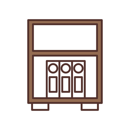 library wooden bookcase of stacked folder standing vector illustration