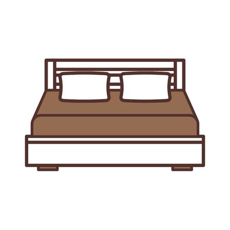 ダブル ・ ベッドと枕と毛布の寝室の家具のベクトル イラスト