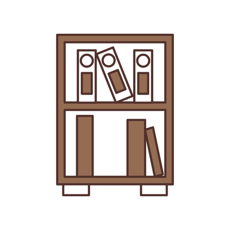 library wooden bookcase of stacked books standing style vector illustration Ilustrace