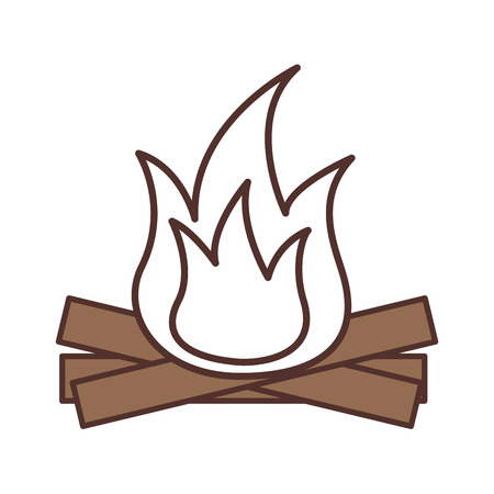 hot and warm bonfire flame wooden vector illustration Ilustração