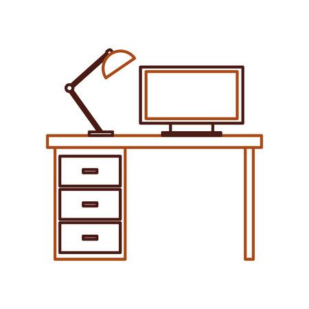 木製デスク ランプ ワークスペース家具ベクトル イラスト
