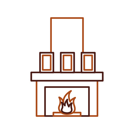 open haard schoorsteen vlam binnen decoratie vectorillustratie Stock Illustratie