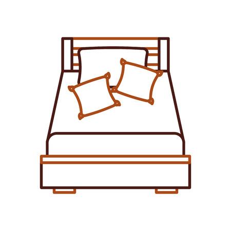 Letto di legno con l'illustrazione di vettore della stanza della mobilia della coperta del cuscino Archivio Fotografico - 85616928
