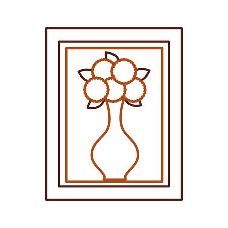 Houten frame met bloem in vaas decoratie interieur vector illustratie Stockfoto - 85616931