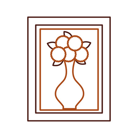 wooden frame with flower in vase decoration interior vector illustration