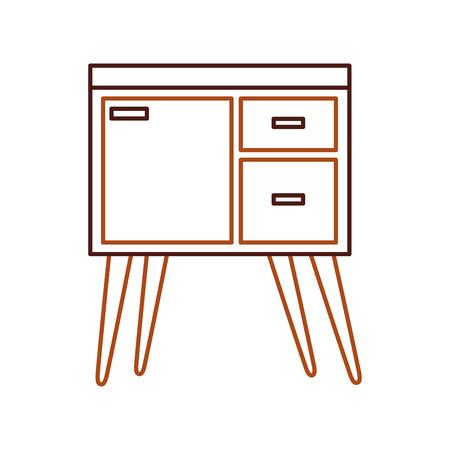 houten ladekast meubilair materiële moderne stijl vectorillustratie