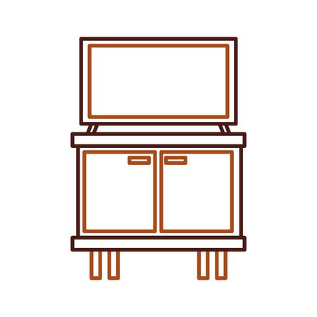 televisie op houten tafel laden meubels vectorillustratie