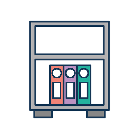 library wooden bookcase of stacked folder standing vector illustration Banco de Imagens - 85616939
