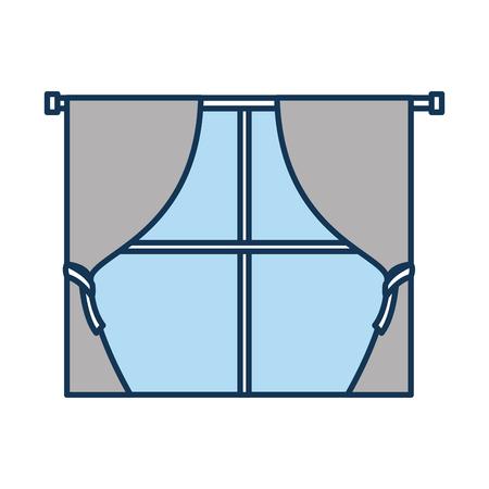 window curtains for house interior decoration style vector illustration Stok Fotoğraf - 85616942