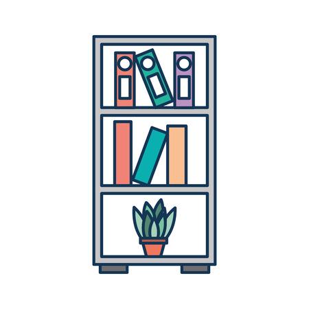 meubels boekenkast boeken map en pot plant decoratie vector illustratie