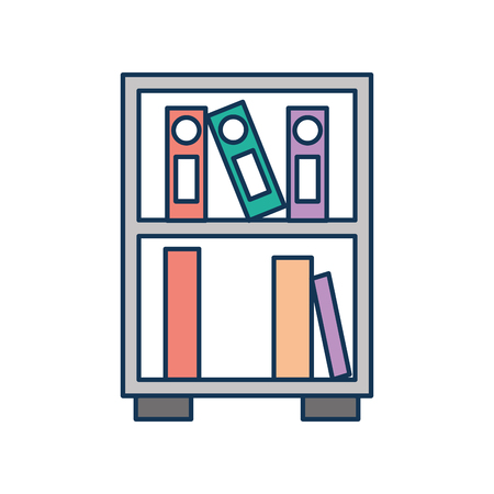 library wooden bookcase of stacked books standing style vector illustration 向量圖像