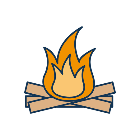 hot and warm bonfire flame wooden vector illustration Çizim