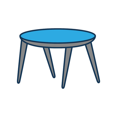 wooden round table furniture decoration vector illustration Çizim
