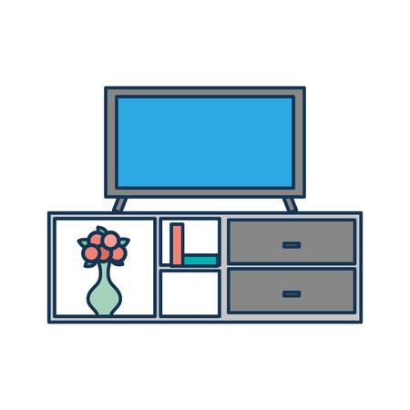 living room interior tv on stand library wooden book shelf flowers drawers vector illustration Illusztráció