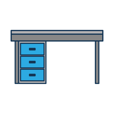 furniture desk drawers wooden table design vector illustration Ilustração