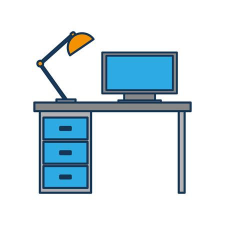 木製デスクコンピュータランプワークスペース家具ベクトルイラスト  イラスト・ベクター素材