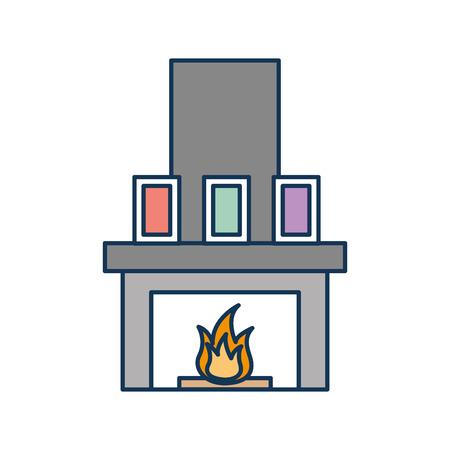 Cheminée cheminée flamme décoration intérieure illustration vectorielle Banque d'images - 85617095