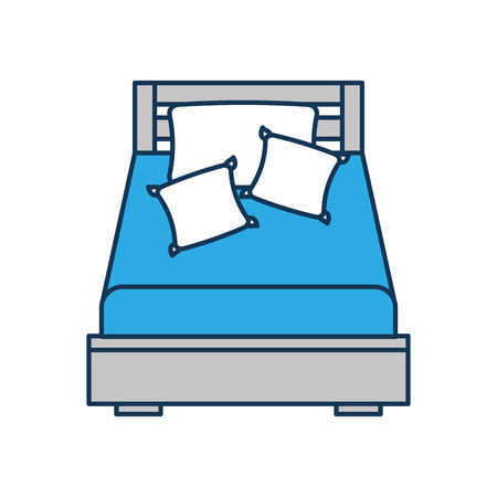 wooden bed with pillow blanket furniture room vector illustration Illustration