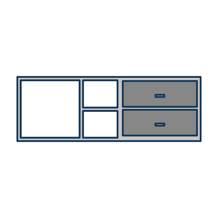 wooden cabinet and shelf furniture empty vector illustration