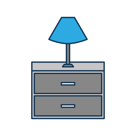table lamp wooden drawers furniture for room vector illustration