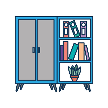 wooden cabinet and bookcase pot with plant vector illustration Çizim
