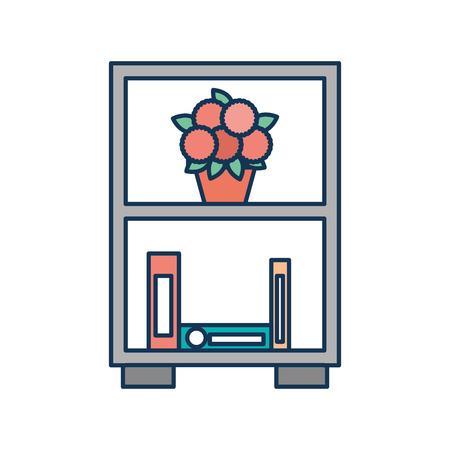 bookcase and potted flowers furniture decoration vector illustration Ilustração