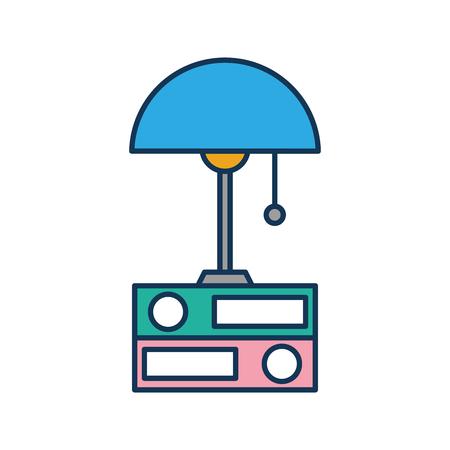 lamp and folder elements object decoration vector illustration