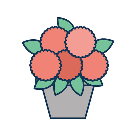 potted flower decoration natural indoor vector illustration