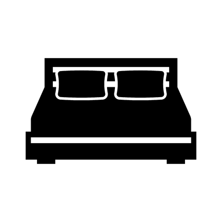double bed and pillow with blanket bedroom furniture vector illustration Reklamní fotografie - 85617383