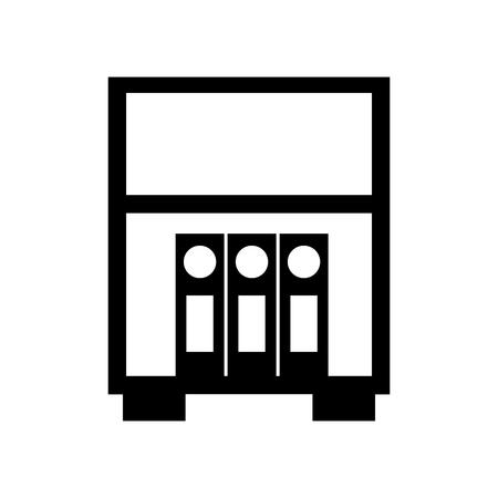 bibliotheek houten boekenkast van gestapelde map staande vector illustratie Stock Illustratie