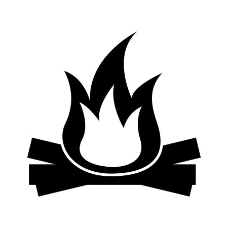Hete en warme vuurvuurvlam houten vectorillustratie Stock Illustratie