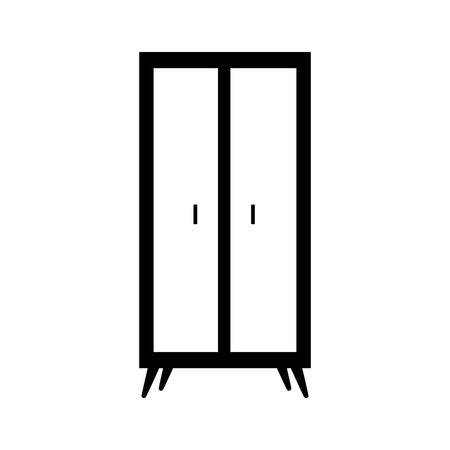 木製ワードローブ家具ホームデコレーションアイコンベクトルイラスト  イラスト・ベクター素材