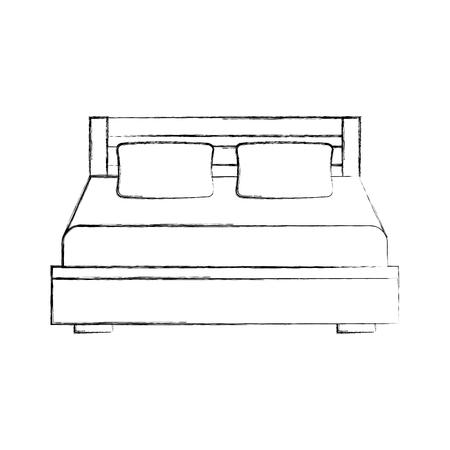 담요 침실 가구 벡터 일러스트와 더블 침대와 베개