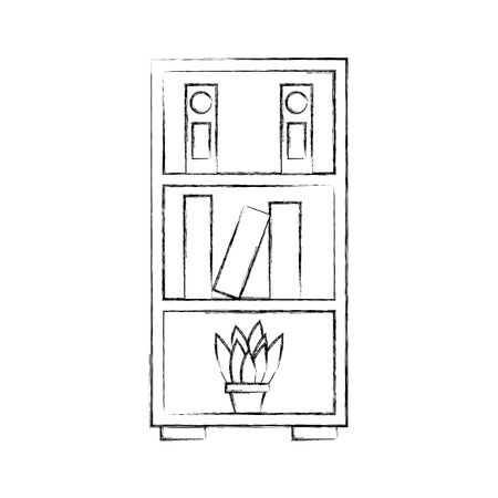furniture bookcase books folder and pot plant decoration vector illustration