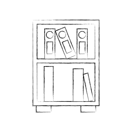 library wooden bookcase of stacked books standing style vector illustration Ilustracja