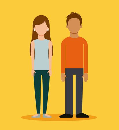 communication cartoon: couple avatar business people together vector illustration