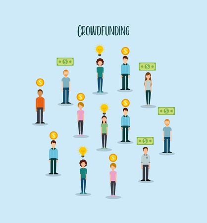 group of people money funding creativity process vector illustration