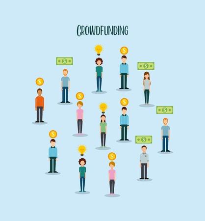 group of people money funding creativity process vector illustration