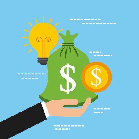 hand holding bag money coin idea support vector illustration