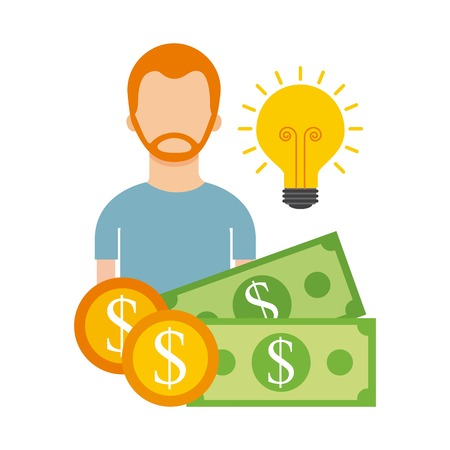 man character money idea business funding help vector illustration Illusztráció
